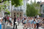 Street performance Ljubljana with guests